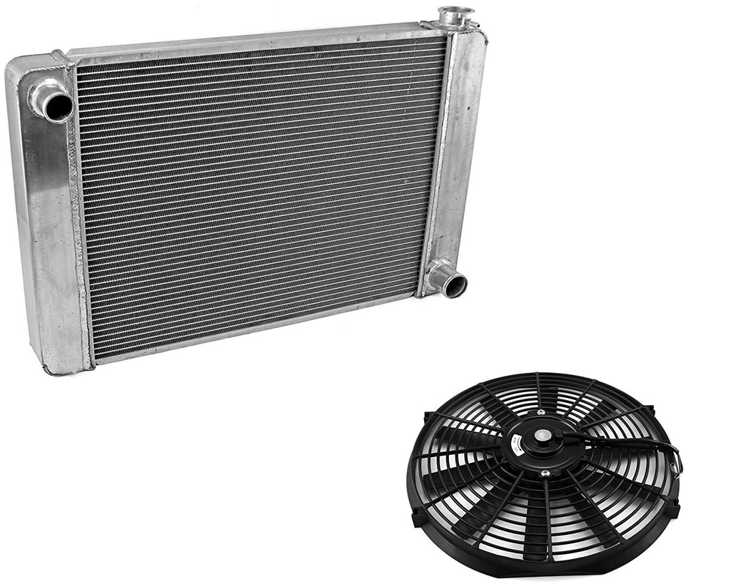 "For SBC BBC Chevy GM Fabricated Aluminum Radiator 21"" x 19"" x3""&16"" Straight Blade Reversible Cooling Fan"