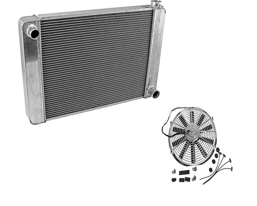 "Fabricated Aluminum Radiator 24"" x 19"" x 3"" Overall For SBC BBC Chevy GM&Electric 10"" Chrome Straight Blade Cooling Radiator Fan"
