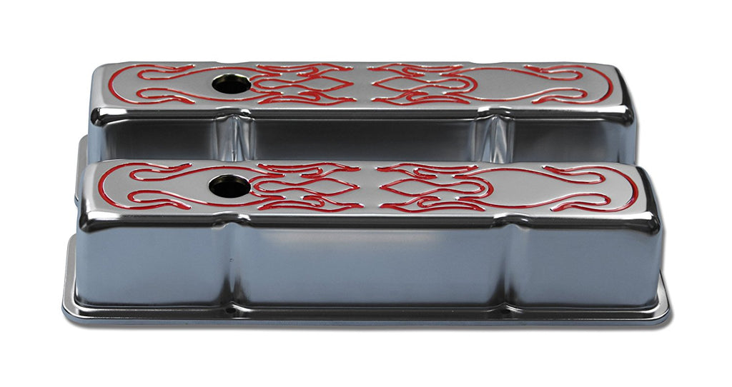 58-86 SBC Chevy 350 Chrome Tall Flame Steel Valve Covers Small Block 283 305 327