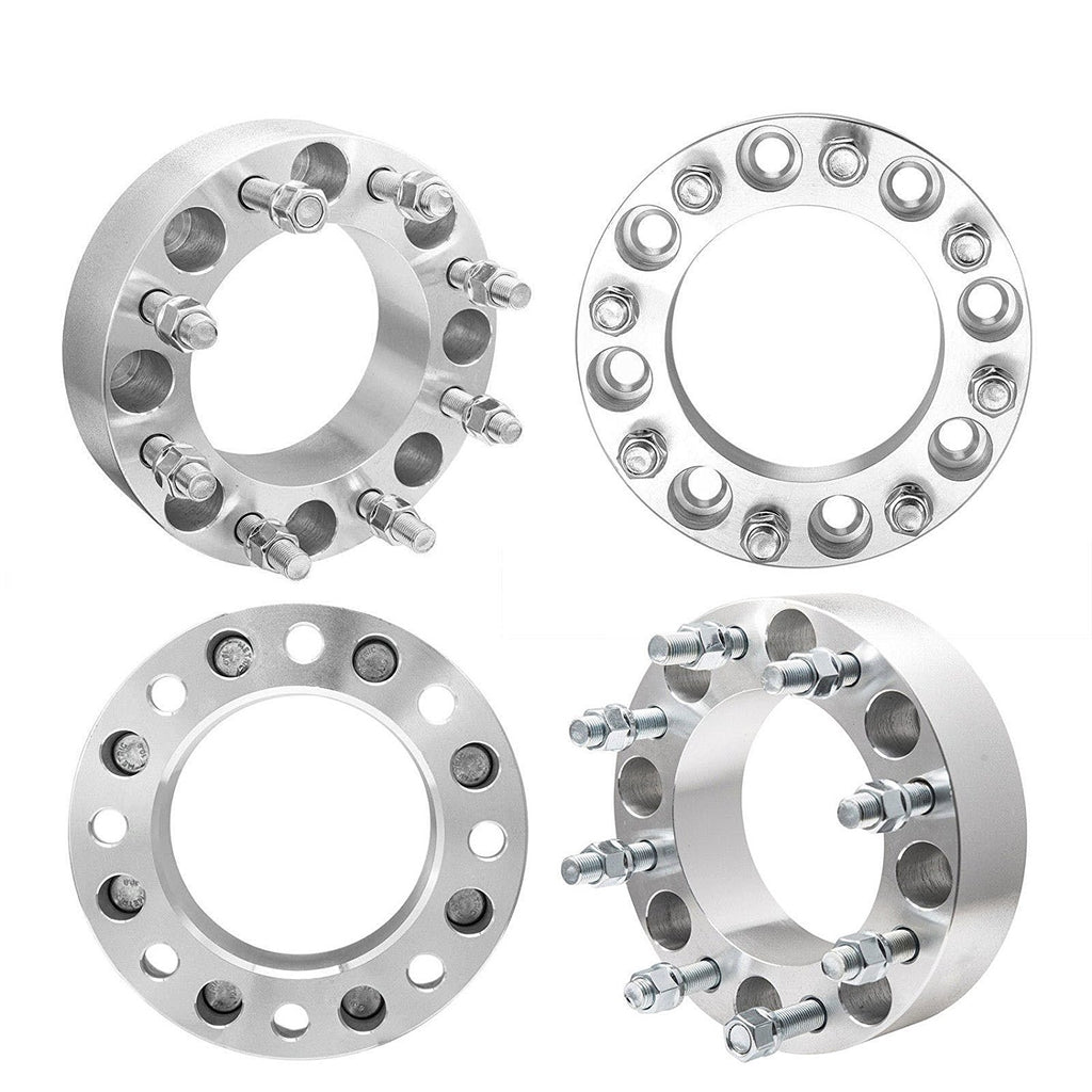"2 Pairs 3"" Wheel Spacers 8 Lug 8x6.5 126.15 mm 14x1.5 For Ram 2500 3500 Chevy GMC Hummer"