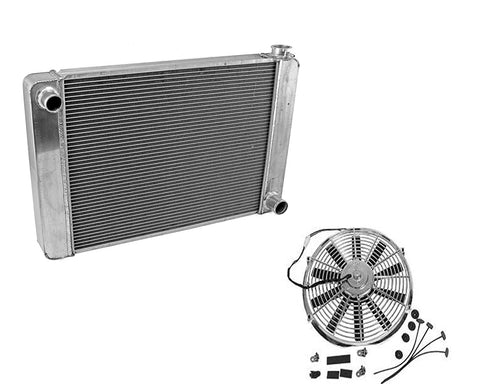 "Fabricated Aluminum Radiator 31"" x 19"" x3"" Overall For SBC BBC Chevy GM & 12"" Chrome Straight Blade Reversible Cooling Fan"
