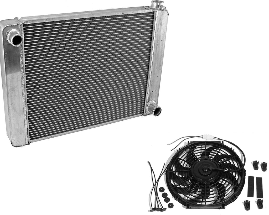 "For SBC BBC Chevy GM Fabricated Aluminum Radiator 21"" x 19"" x3""&14""Heavy Duty Radiator Electric Fan"