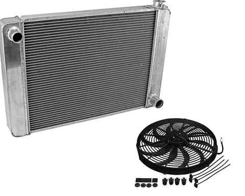 "Fabricated Aluminum Radiator 31"" x 19"" x3"" Overall For SBC BBC Chevy GM & Electric Curved S Blade 16"" Radiator Cooling Fan"