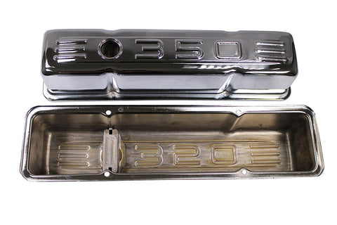 58-86 SBC Small Block Chevy 283 327 400 Chrome 350 Logo Tall Valve Covers