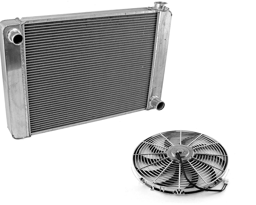 "For SBC BBC Chevy GM Fabricated Aluminum Radiator 22"" x 19"" x3"" Overall & Chrome 14"" Curved Blade Reversible Cooling Fan"