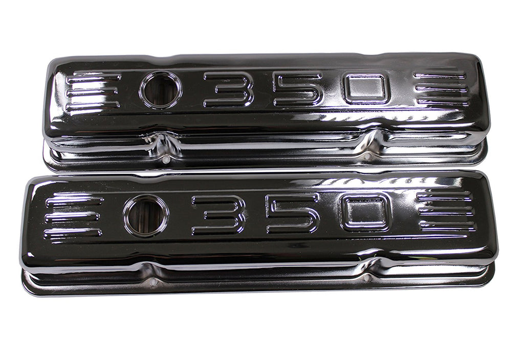 58-86 SBC Small Block Chevy 283 327 400 Chrome 350 Logo Short Valve Covers
