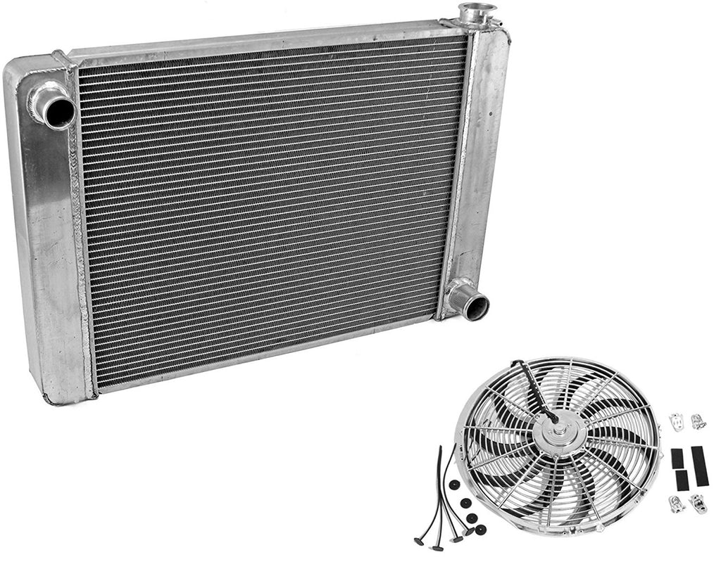"Fabricated Aluminum Radiator 30"" x 19"" x3"" Overall For SBC BBC Chevy GM & 12"" Chrome Electric Curved Blade Reversible Cooling Fan"