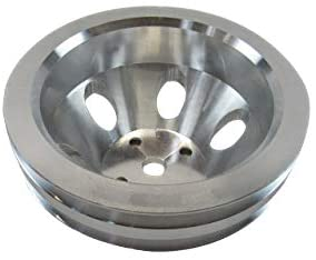 "Aluminum 340-360 2 Groove Water Pump Pulley 6.5"" OD Satin"