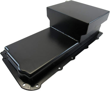 Steel Rear Sump Oil Pan 7 Quart -10AN Fitting Black for GM LS