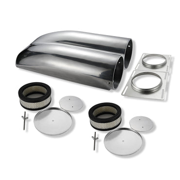 Polished Aluminum Shotgun Double Barrel Intake Hood Scoop Smooth Dual Carb Setup