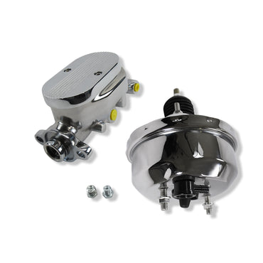 "Universal 7"" Single Diaphragm Chrome Brake Booster and GM Chrome Aluminum Brake Master Cylinder w/ Screw Down Style"