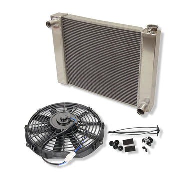 "25"" x 19"" x 3"" Fabricated Aluminum Radiator & 10'' Electric Cooling Fan Straight Blade"
