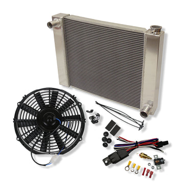 "25"" x 19"" x 3"" Fabricated Aluminum Radiator & 10'' Electric Cooling fan Straight Blade & Thermostat Switch Relay Kit"