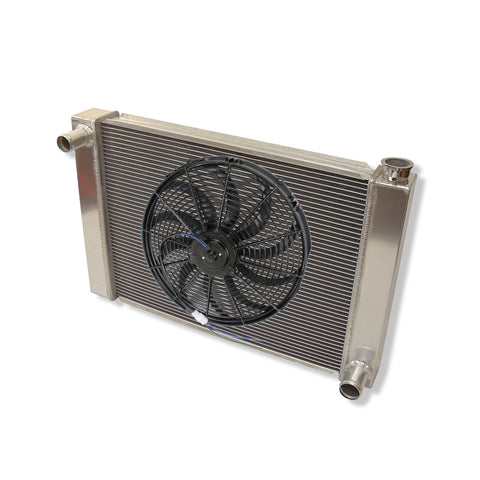"Fabricated Aluminum Radiator 29"" x 19"" x3"" Overall For SBC BBC Chevy GM &16"" Curved S Blade Radiator Cooling Fan"
