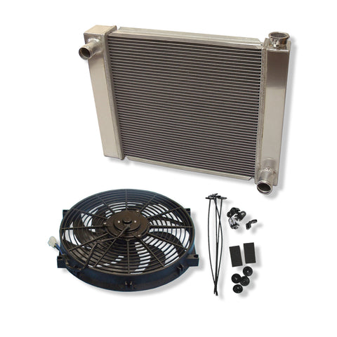 "Fabricated Aluminum Radiator 24"" x 19"" x 3"" Overall For SBC BBC Chevy GM&14"" Heavy Duty Electric Fan"