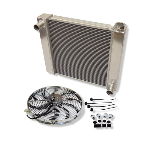 "For SBC BBC Chevy GM Fabricated Aluminum Radiator 22"" x 19"" x3"" Overall & Chrome 16"" Heavy Duty Radiator Cooling Fan"