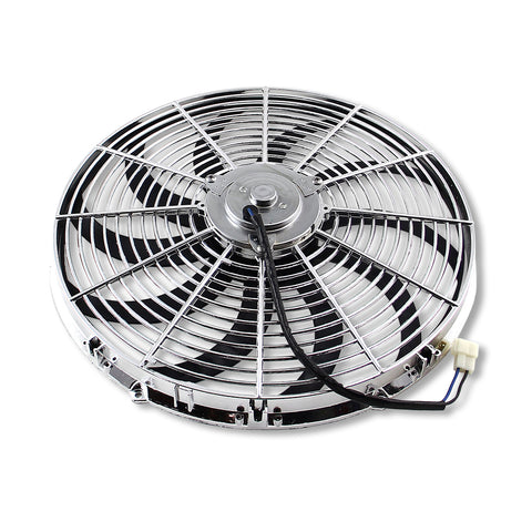 "Chrome 16"" Heavy Duty Reversible Electric Cooling Fan 3000cfm With Mounting Kit, Pack of 2"