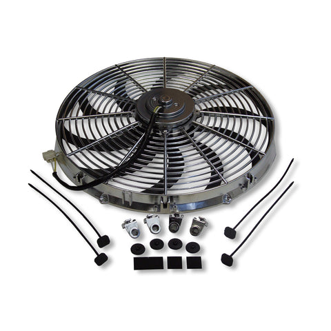 "Chrome 16"" Heavy Duty Reversable Electric Cooling Fan 2500cfm W/ Thermostat Kit"