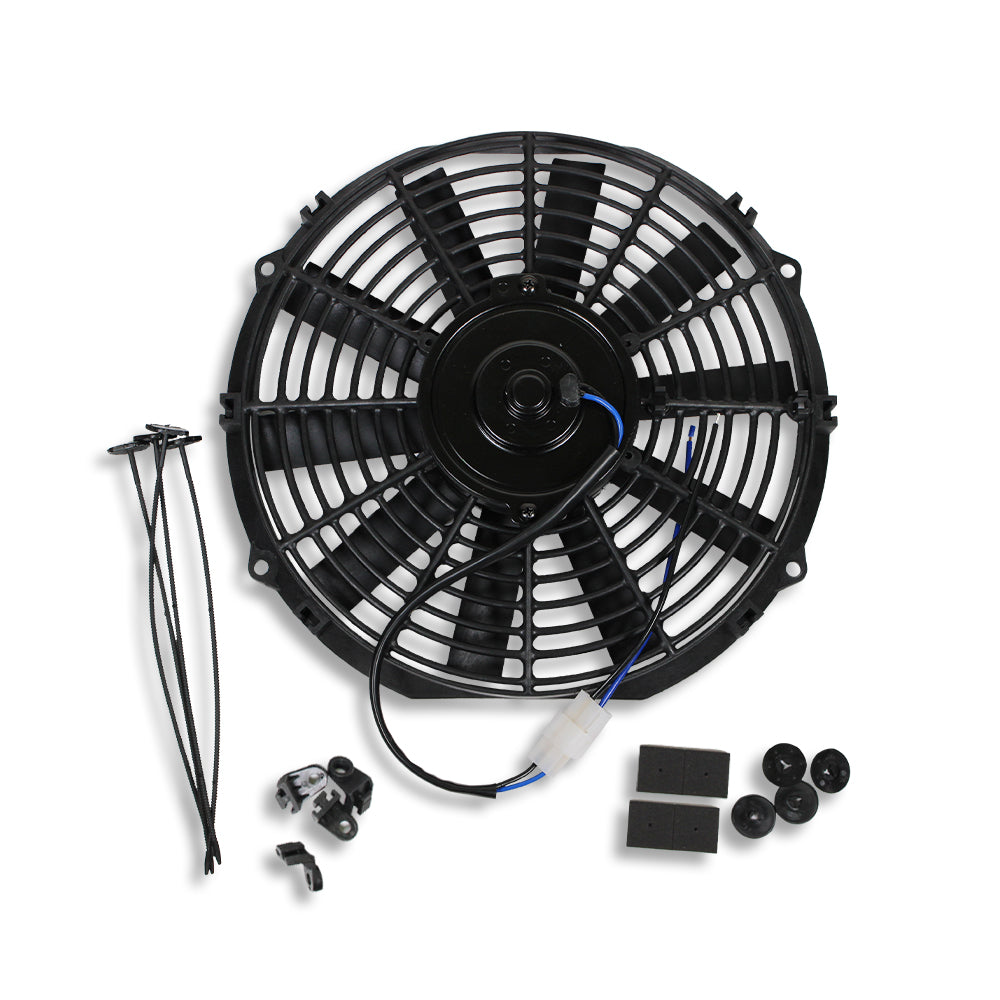 Universal High Performance 12V Slim Electric Cooling Radiator Fan With Fan Mounting Kit (12 Inch, Black)