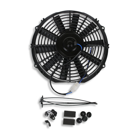 "DEMOTOR Electric 12"" Straight Blade Reversible Cooling Fan 12v 1577cfm with Thermostat Kit"