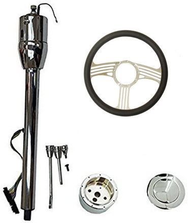 "14"" Blade Chrome Universal Style Steering Wheel & Manual Steering Column 30"" GM No Key & Horn Button"