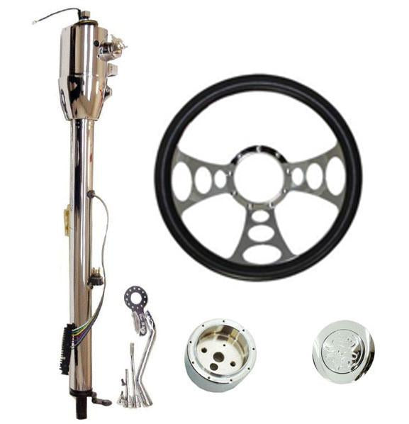 "14"" Chrome Nine Hole Steering Wheel And Auto Column 28""GM w/Key And Adapter And Horn Button"