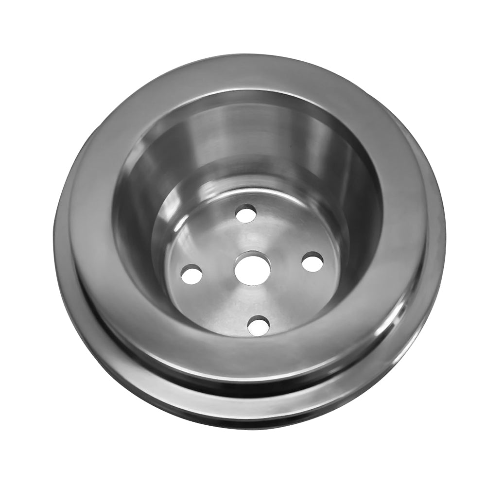 BBC Long Water Pump Aluminum Pulley, Double Groove, Polished.