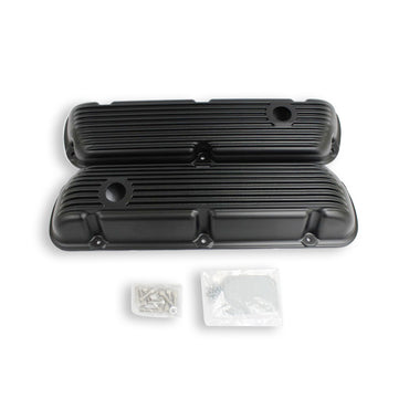 Small Block Ford SBF 289 302 351W Finned Black Coated Short Valve Covers