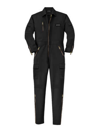 BLACK SLIM-FIT TECH JUMPSUIT