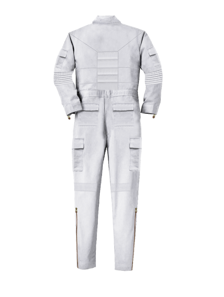 WHITE SLIM-FIT TECH JUMPSUIT
