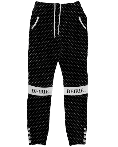 BLACK SLIM-FIT MESH SWEATS