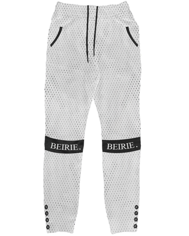 WHITE SLIM-FIT MESH SWEATS