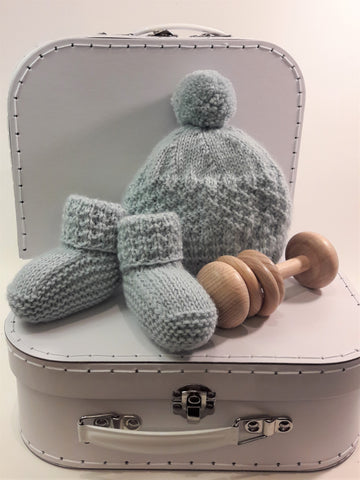 NZ made - Alpaca Beanie and Bootie Set - Powder Blue