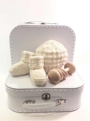 NZ made - Alpaca Beanie and Bootie Set - Natural