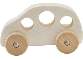 Chunky wooden car - White