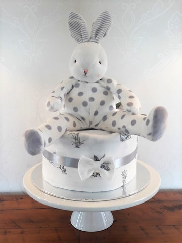 Diaper cake - Single - Grey Spotted Bunny