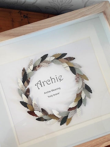 Paper Feather Wreath - Archie - Green/Mustard