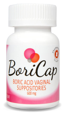 BoriCap Boric Acid Vaginal Suppositories | 28 Count, 600mg | Capsules Size 00 | No Fillers or Artificial Colors