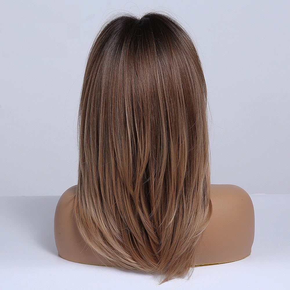 Emma Ombre Dark brown to Light Brown Wig with Bangs