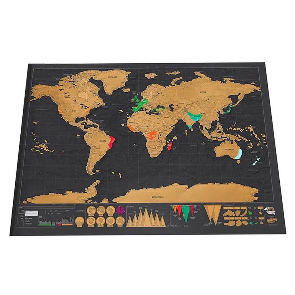 Black World Map - Scratch off Wall Decal