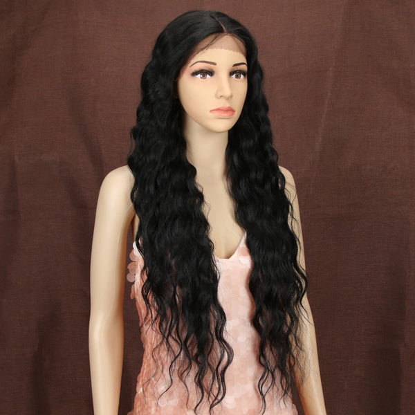 "Callie - Deep Wave Natural Black Lace Front Wig 30"" Long"