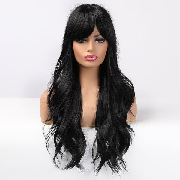 "Veronica - Natural Wave Black Full Head Wig With Bangs 26"" Long"