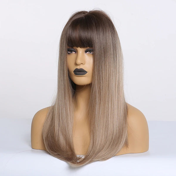 "Mariah - Straight Ombre Light Brown Blonde Dark Roots Full Head Wig With Bangs 20"" Long"