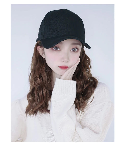Alex - Natural Wave Wig With Black Baseball Hats