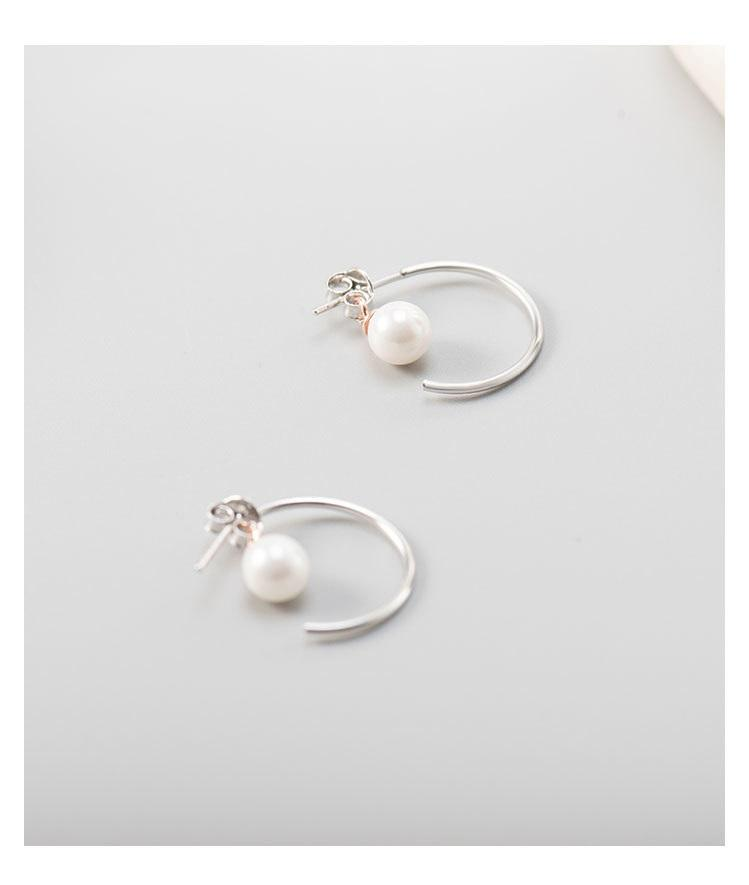 Moon Style Stud with Pearls Earrings 925 Sterling Silver - NeedIt.ca