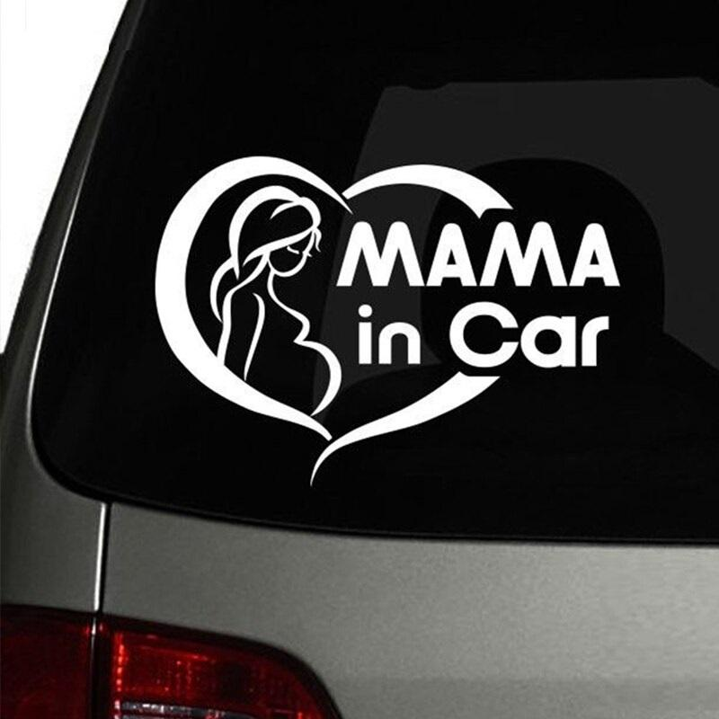 Pregnant Mama In Car Safety Sign Cute Car Sticker
