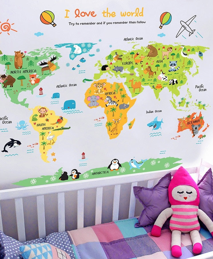 I love the world Colorful Animal World Map Wall Decal