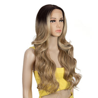 "Bella - Body Wave Brown With Blonde Highlights Dark Roots Lace Front Wig 28"" Long"