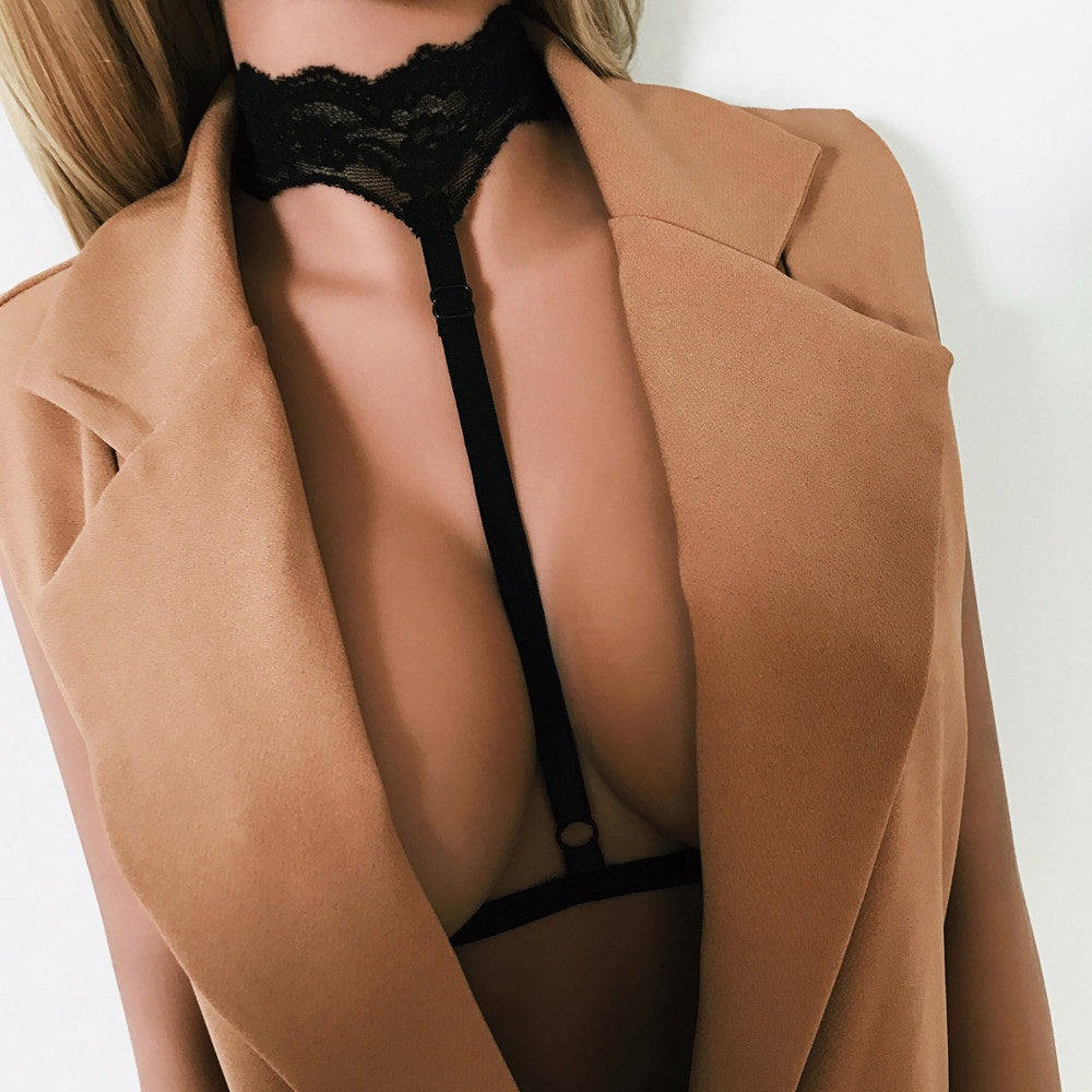 Lace Choker Harness Bra