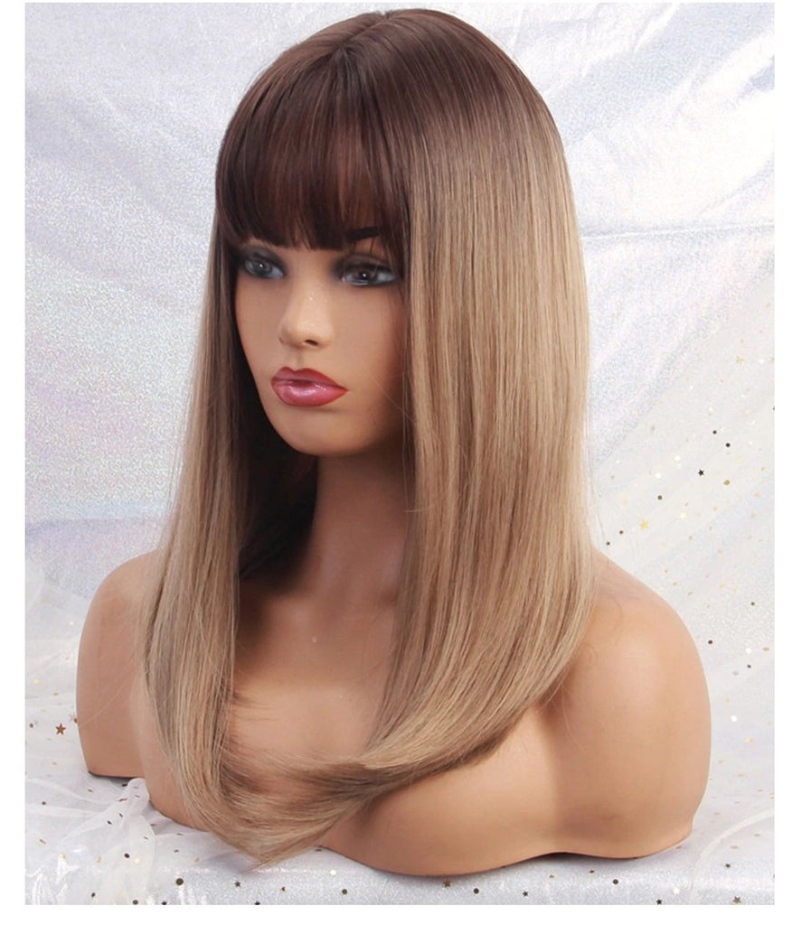 Aurora Ombre Brown Wig with Bangs - NeedIt.ca